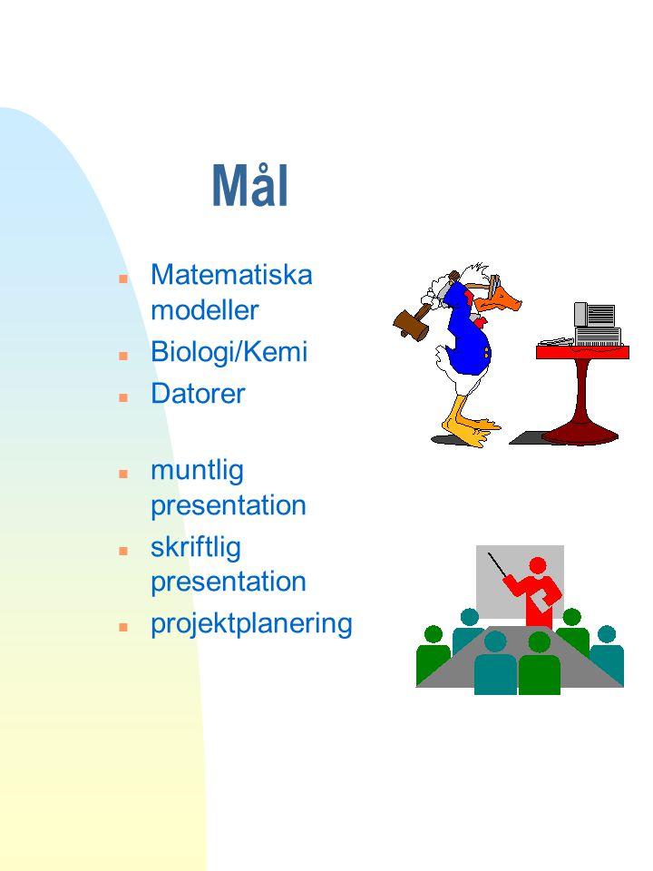 Mål n Matematiska modeller n Biologi/Kemi n Datorer n muntlig presentation n skriftlig presentation n projektplanering