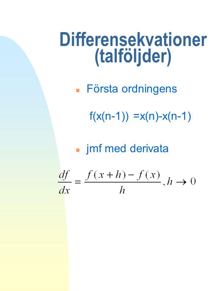 Differensekvationer (talföljder) n Första ordningens f(x(n-1)) =x(n)-x(n-1) n jmf med derivata