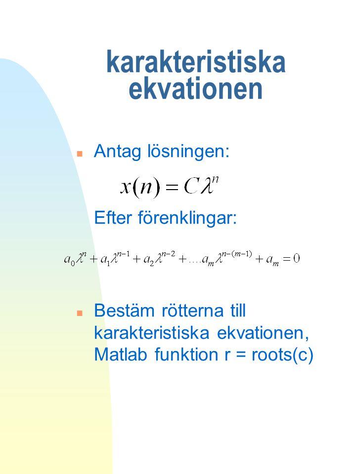 karakteristiska ekvationen n Antag lösningen: Efter förenklingar: n Bestäm rötterna till karakteristiska ekvationen, Matlab funktion r = roots(c)