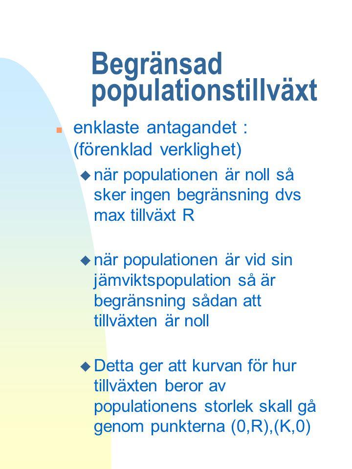 Begränsad populationstillväxt n enklaste antagandet : (förenklad verklighet) u när populationen är noll så sker ingen begränsning dvs max tillväxt R u