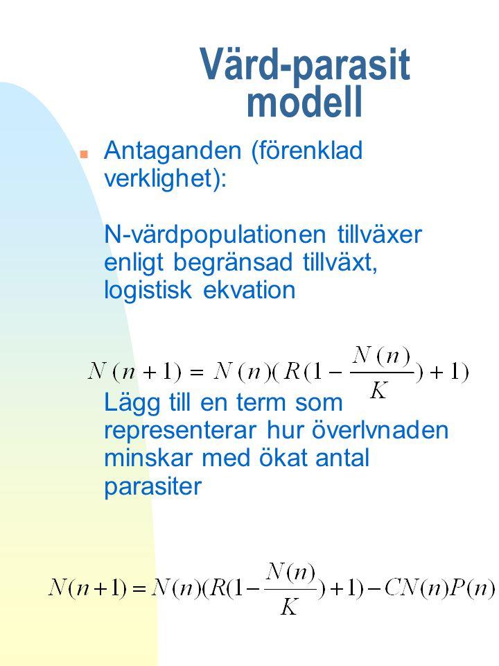 Värd-parasit modell n Antaganden (förenklad verklighet): N-värdpopulationen tillväxer enligt begränsad tillväxt, logistisk ekvation Lägg till en term