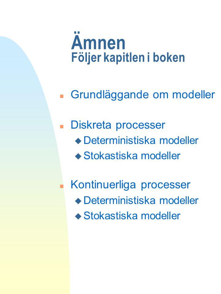 Ämnen Följer kapitlen i boken n Grundläggande om modeller n Diskreta processer u Deterministiska modeller u Stokastiska modeller n Kontinuerliga proce