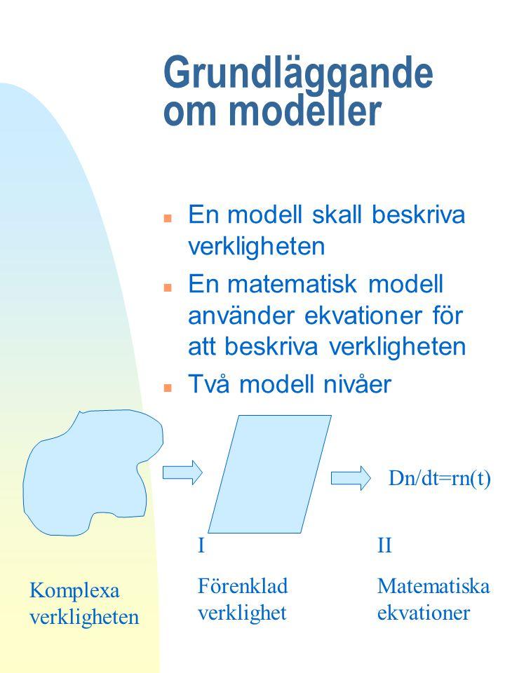 Grundläggande om modeller n En modell skall beskriva verkligheten n En matematisk modell använder ekvationer för att beskriva verkligheten n Två model