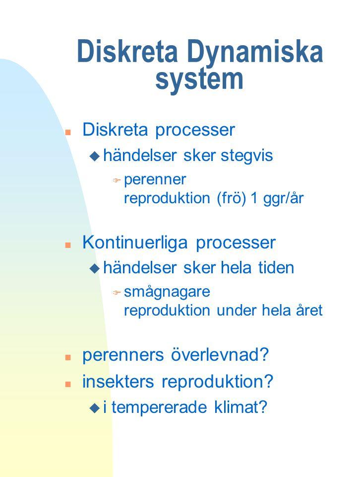 Diskreta Dynamiska system n Diskreta processer u händelser sker stegvis F perenner reproduktion (frö) 1 ggr/år n Kontinuerliga processer u händelser s