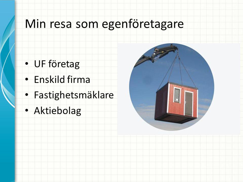 Min resa som egenföretagare UF företag Enskild firma Fastighetsmäklare Aktiebolag