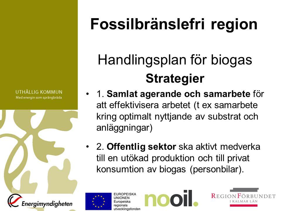 Fossilbränslefri region Handlingsplan för biogas Strategier 1. Samlat agerande och samarbete för att effektivisera arbetet (t ex samarbete kring optim