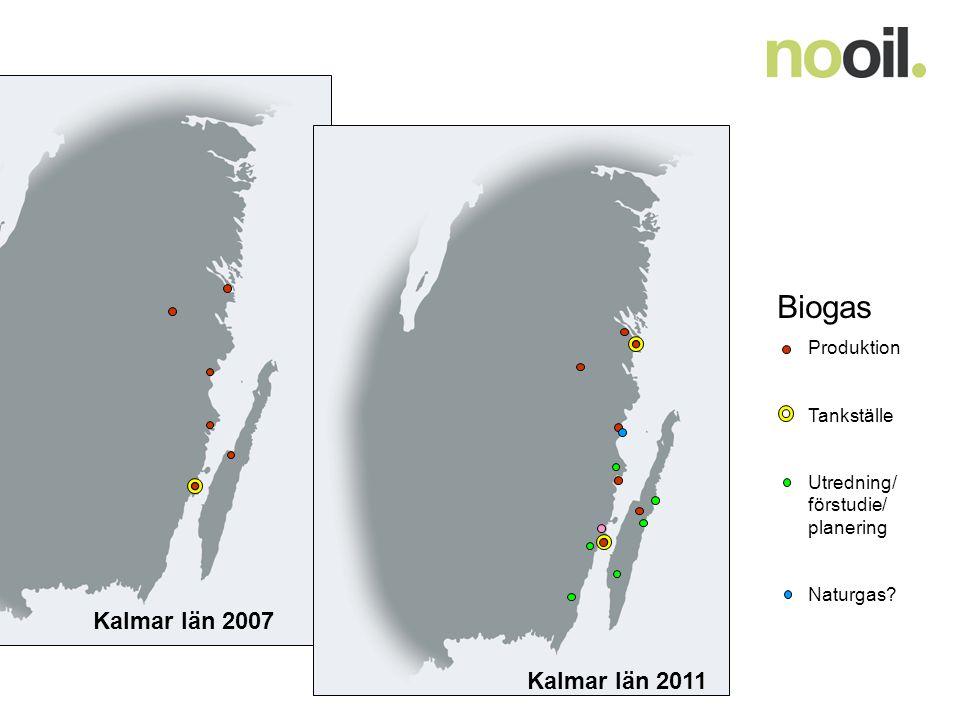 Biogas Produktion Tankställe Utredning/ förstudie/ planering Naturgas? Kalmar län 2007 Kalmar län 2011