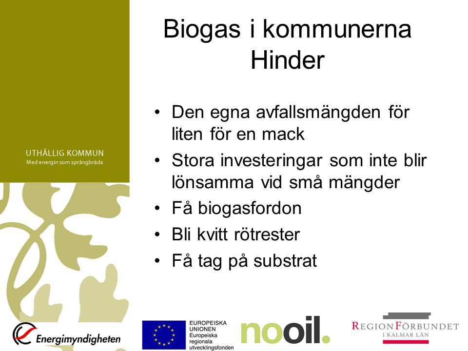 Biogas i kommunerna Hinder Den egna avfallsmängden för liten för en mack Stora investeringar som inte blir lönsamma vid små mängder Få biogasfordon Bl