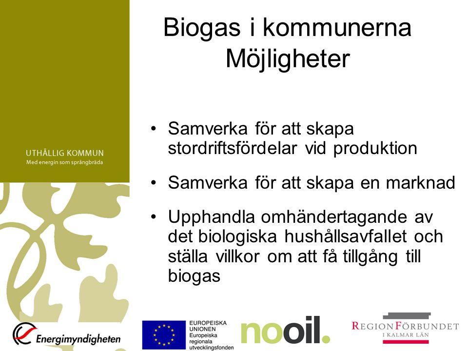 Biogas i kommunerna Möjligheter Samverka för att skapa stordriftsfördelar vid produktion Samverka för att skapa en marknad Upphandla omhändertagande av det biologiska hushållsavfallet och ställa villkor om att få tillgång till biogas