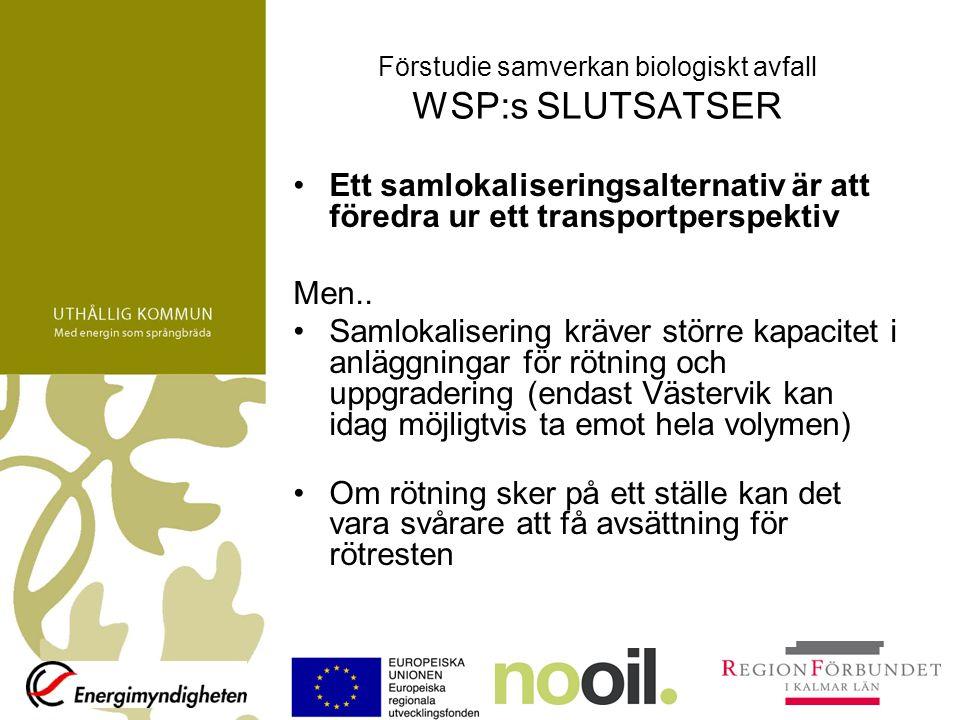 Förstudie samverkan biologiskt avfall WSP:s SLUTSATSER Ett samlokaliseringsalternativ är att föredra ur ett transportperspektiv Men.. Samlokalisering
