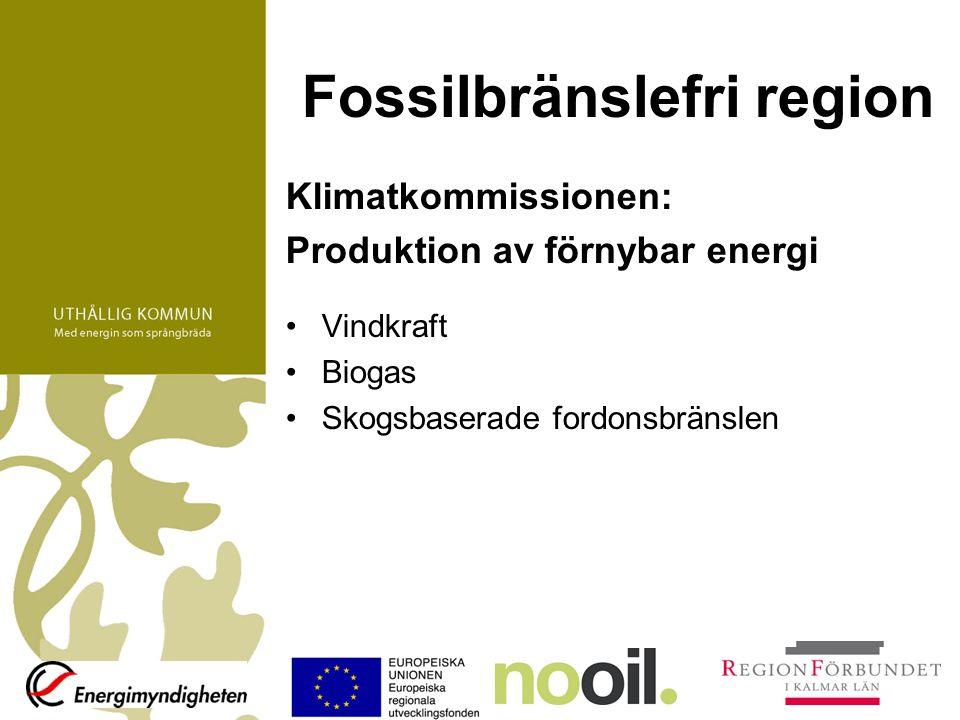 Fossilbränslefri region Klimatkommissionen: Produktion av förnybar energi Vindkraft Biogas Skogsbaserade fordonsbränslen