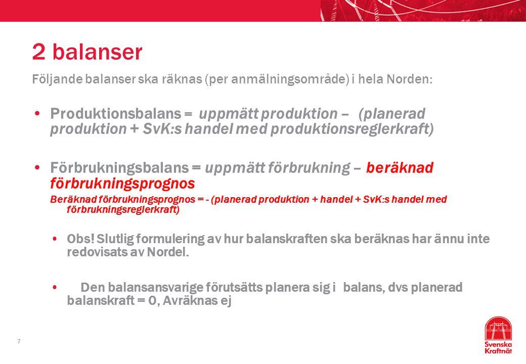7 2 balanser Följande balanser ska räknas (per anmälningsområde) i hela Norden: Produktionsbalans = uppmätt produktion – (planerad produktion + SvK:s