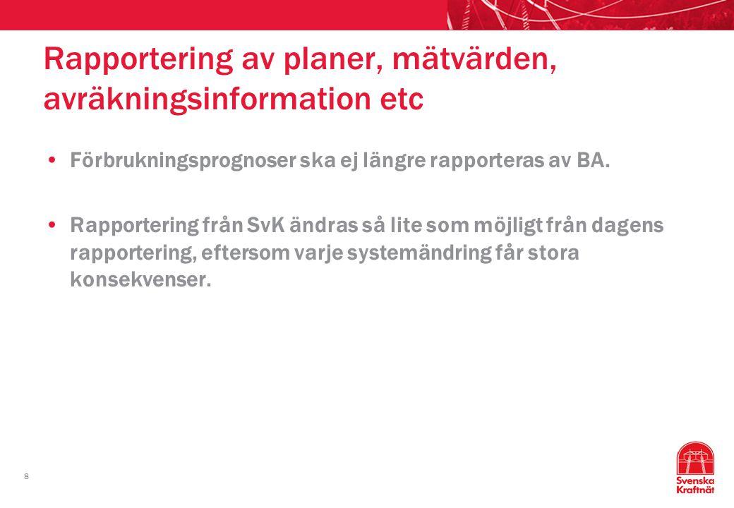 8 Rapportering av planer, mätvärden, avräkningsinformation etc Förbrukningsprognoser ska ej längre rapporteras av BA. Rapportering från SvK ändras så