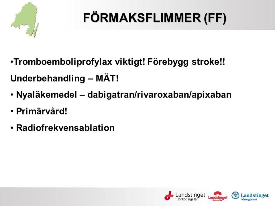 FÖRMAKSFLIMMER (FF) Tromboemboliprofylax viktigt! Förebygg stroke!! Underbehandling – MÄT! Nyaläkemedel – dabigatran/rivaroxaban/apixaban Primärvård!