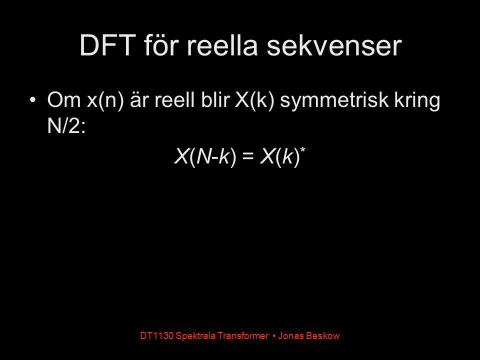 Om x(n) är reell blir X(k) symmetrisk kring N/2: X(N-k) = X(k) * DT1130 Spektrala Transformer Jonas Beskow DFT för reella sekvenser