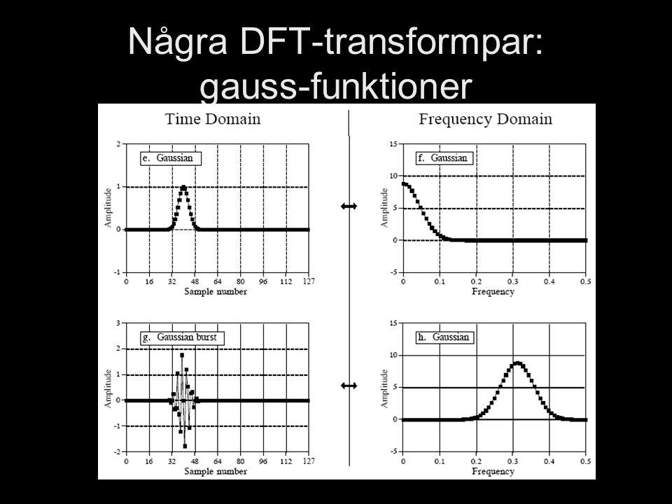 DT1130 Spektrala Transformer Jonas Beskow Några DFT-transformpar: gauss-funktioner