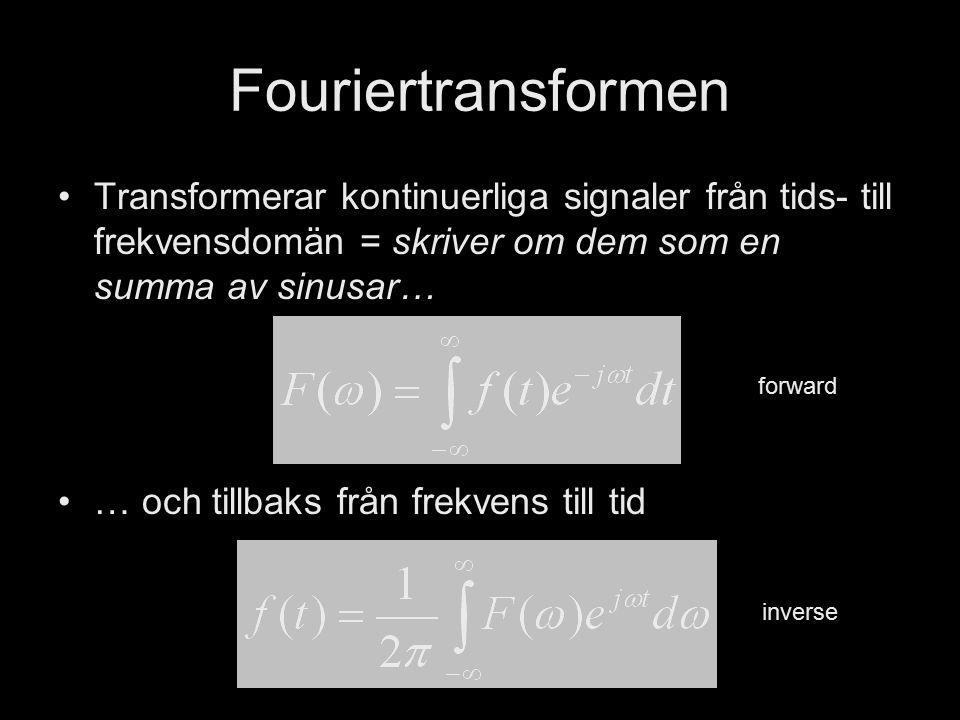 DT1130 Spektrala Transformer Jonas Beskow Fouriertransformen Transformerar kontinuerliga signaler från tids- till frekvensdomän = skriver om dem som e
