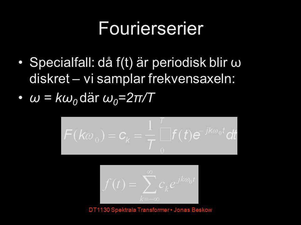 DT1130 Spektrala Transformer Jonas Beskow Fourierserier Specialfall: då f(t) är periodisk blir ω diskret – vi samplar frekvensaxeln: ω = kω 0 där ω 0