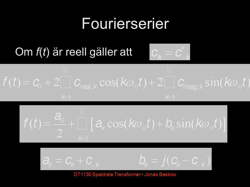 DT1130 Spektrala Transformer Jonas Beskow Fourierserier Om f(t) är reell gäller att