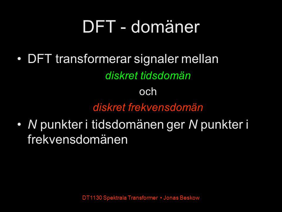 DT1130 Spektrala Transformer Jonas Beskow DFT - domäner DFT transformerar signaler mellan diskret tidsdomän och diskret frekvensdomän N punkter i tids