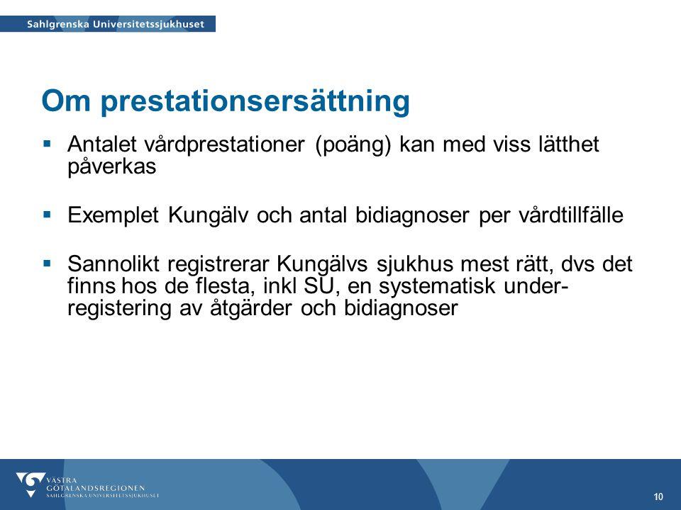 10 Om prestationsersättning  Antalet vårdprestationer (poäng) kan med viss lätthet påverkas  Exemplet Kungälv och antal bidiagnoser per vårdtillfäll