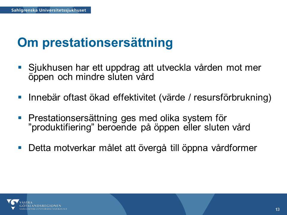 13 Om prestationsersättning  Sjukhusen har ett uppdrag att utveckla vården mot mer öppen och mindre sluten vård  Innebär oftast ökad effektivitet (v