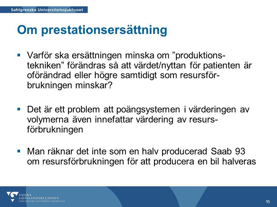 """15 Om prestationsersättning  Varför ska ersättningen minska om """"produktions- tekniken"""" förändras så att värdet/nyttan för patienten är oförändrad ell"""