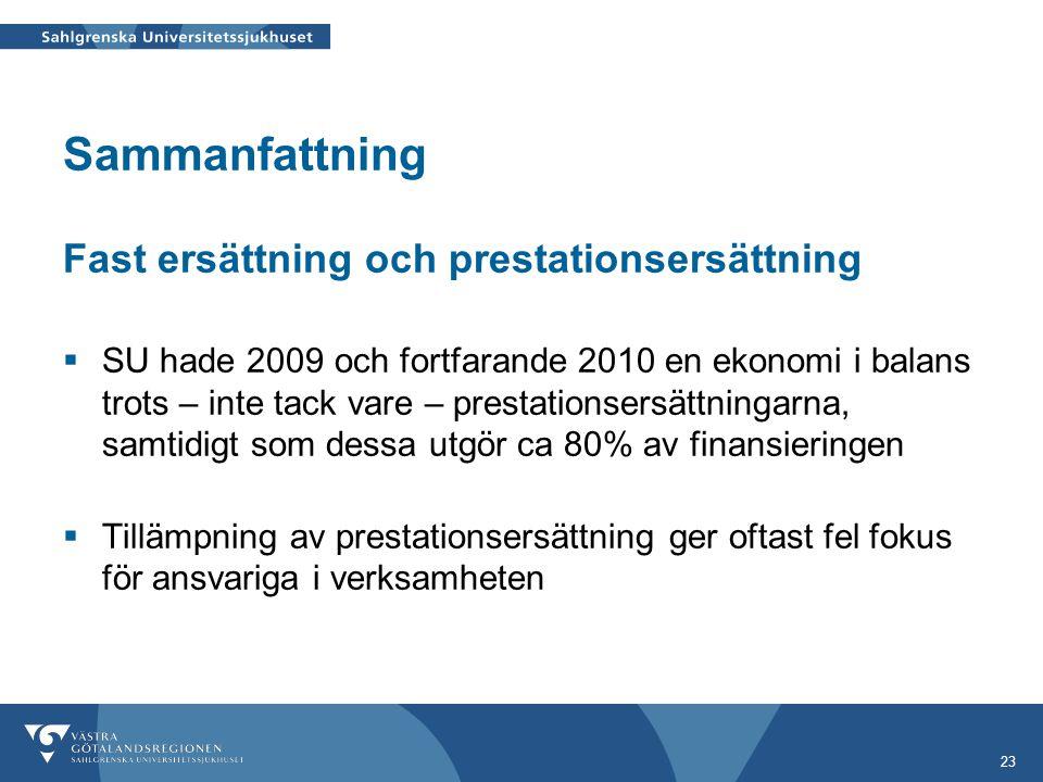 23 Sammanfattning Fast ersättning och prestationsersättning  SU hade 2009 och fortfarande 2010 en ekonomi i balans trots – inte tack vare – prestatio