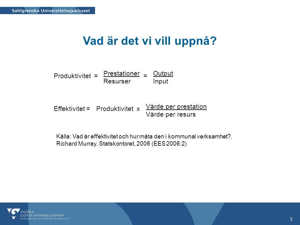 3 Källa: Vad är effektivitet och hur mäta den i kommunal verksamhet?, Richard Murray, Statskontoret, 2006 (EES 2006:2) Produktivitet Effektivitet = Pr