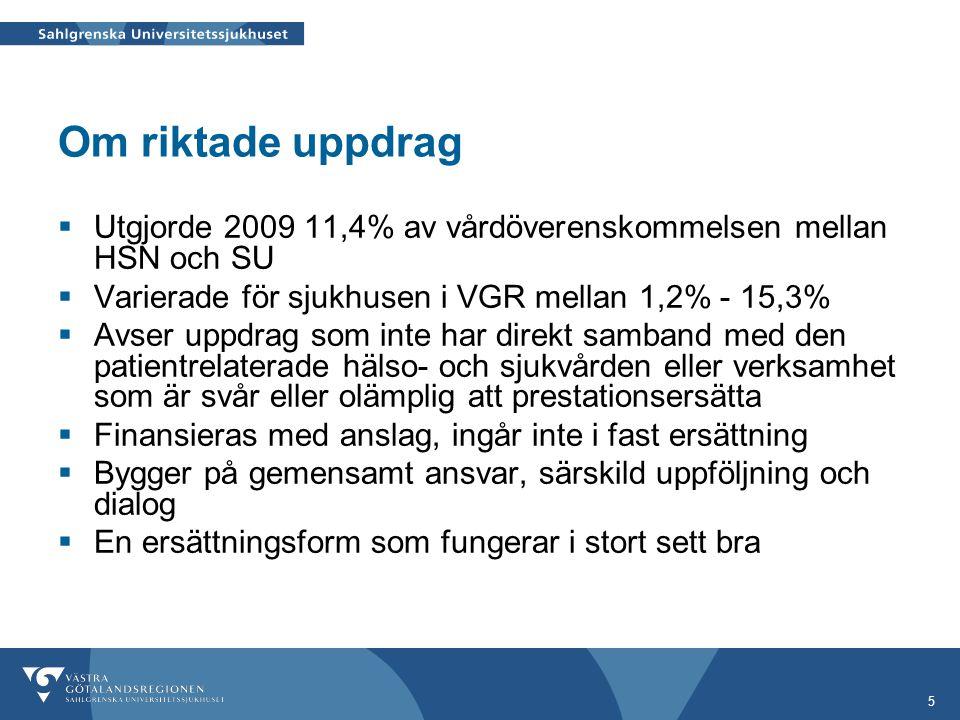 5 Om riktade uppdrag  Utgjorde 2009 11,4% av vårdöverenskommelsen mellan HSN och SU  Varierade för sjukhusen i VGR mellan 1,2% - 15,3%  Avser uppdr