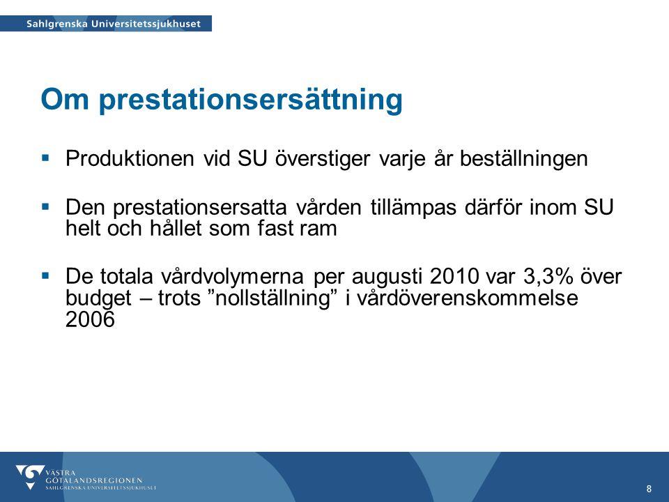 8 Om prestationsersättning  Produktionen vid SU överstiger varje år beställningen  Den prestationsersatta vården tillämpas därför inom SU helt och h