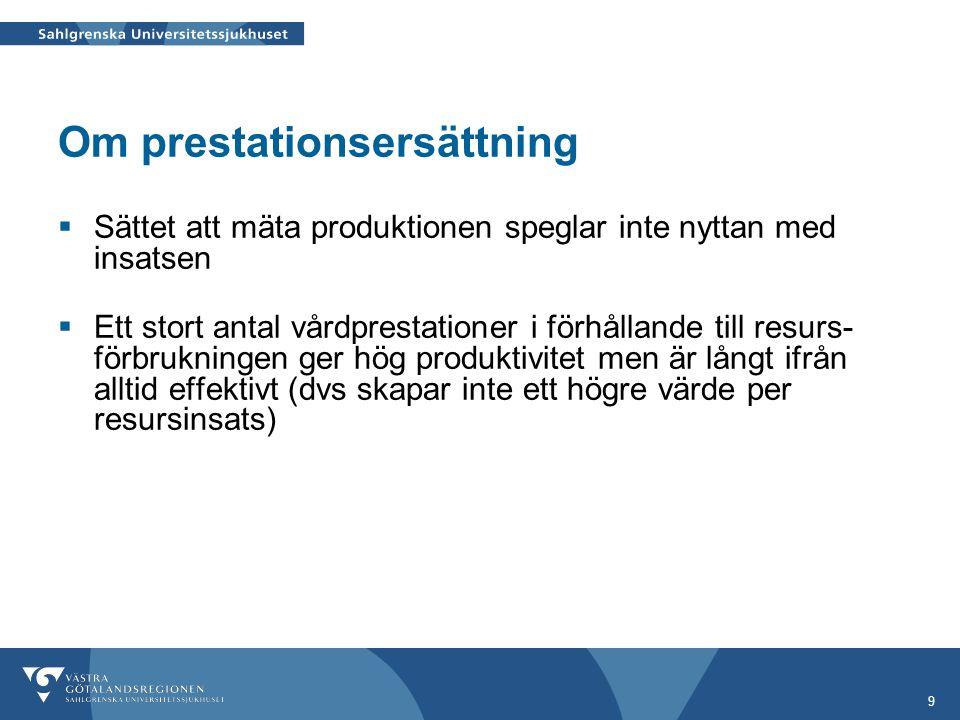 9 Om prestationsersättning  Sättet att mäta produktionen speglar inte nyttan med insatsen  Ett stort antal vårdprestationer i förhållande till resur