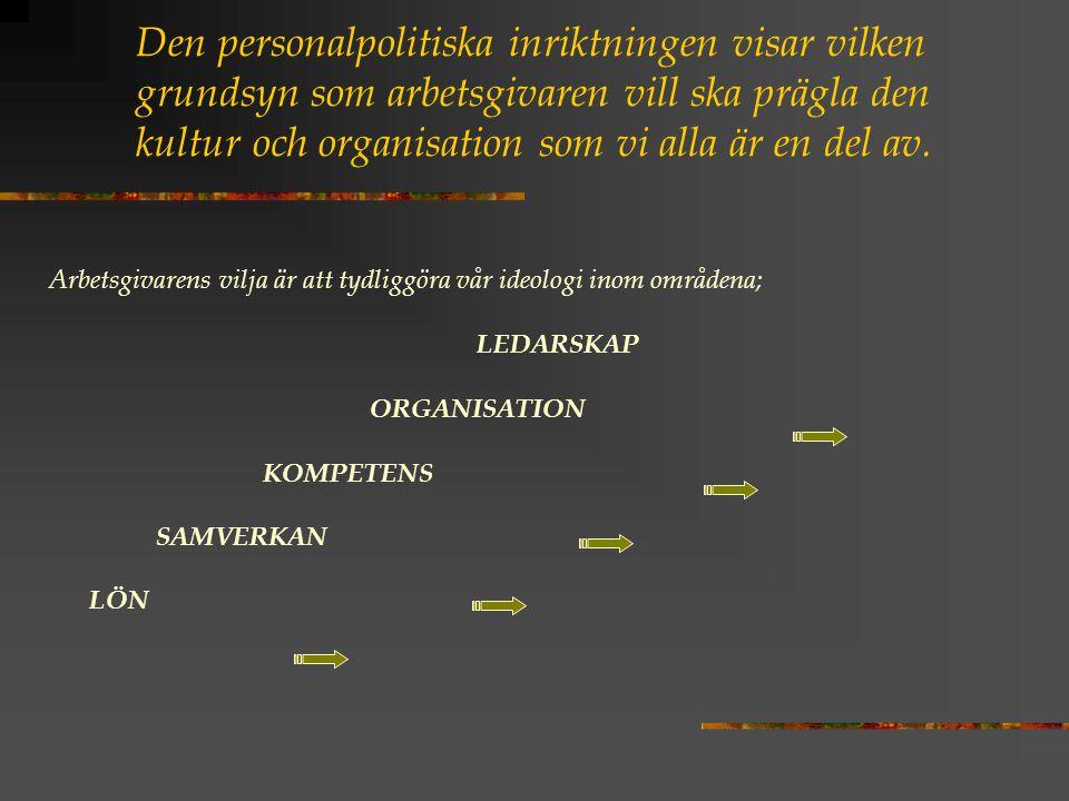 Den personalpolitiska inriktningen visar vilken grundsyn som arbetsgivaren vill ska prägla den kultur och organisation som vi alla är en del av. Arbet