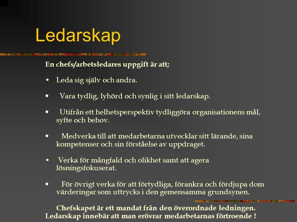 Ledarskap En chefs/arbetsledares uppgift är att; Leda sig själv och andra.  Vara tydlig, lyhörd och synlig i sitt ledarskap.  Utifrån ett helhetsper