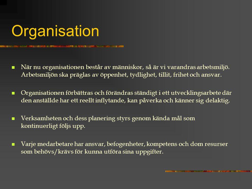 Organisation När nu organisationen består av människor, så är vi varandras arbetsmiljö. Arbetsmiljön ska präglas av öppenhet, tydlighet, tillit, frihe