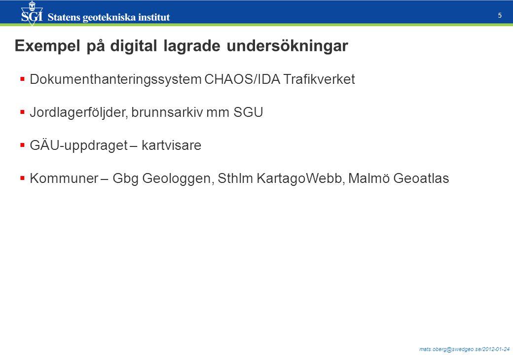 mats.oberg@swedgeo.se/2012-01-24 5 Exempel på digital lagrade undersökningar  Dokumenthanteringssystem CHAOS/IDA Trafikverket  Jordlagerföljder, bru