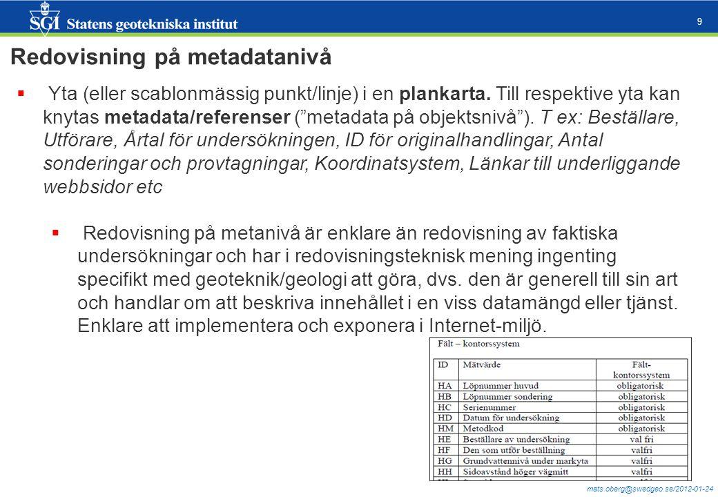 """mats.oberg@swedgeo.se/2012-01-24 9  Yta (eller scablonmässig punkt/linje) i en plankarta. Till respektive yta kan knytas metadata/referenser (""""metada"""