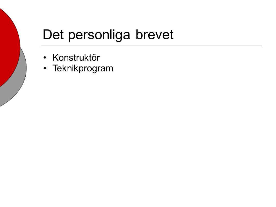 Det personliga brevet Konstruktör Teknikprogram
