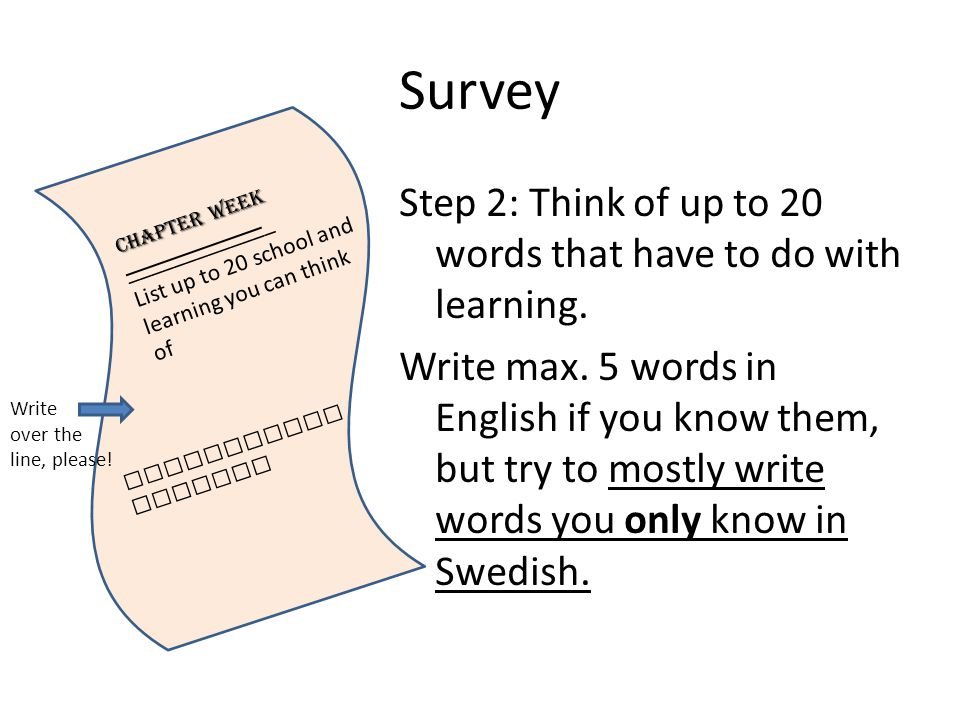 Survey Step 2: Think of up to 20 words that have to do with learning.