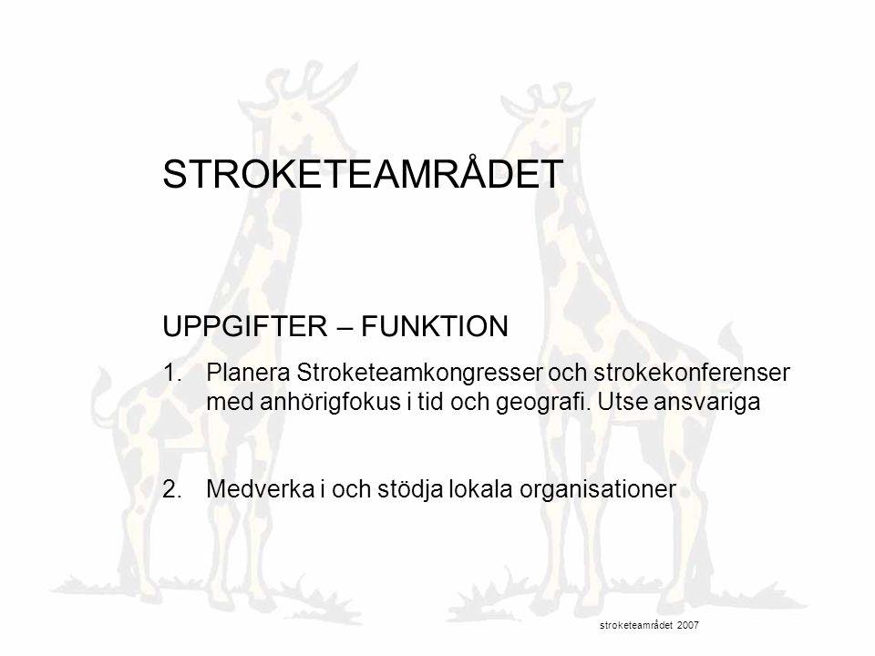 STROKETEAMRÅDET UPPGIFTER – FUNKTION 1.Planera Stroketeamkongresser och strokekonferenser med anhörigfokus i tid och geografi. Utse ansvariga 2.Medver