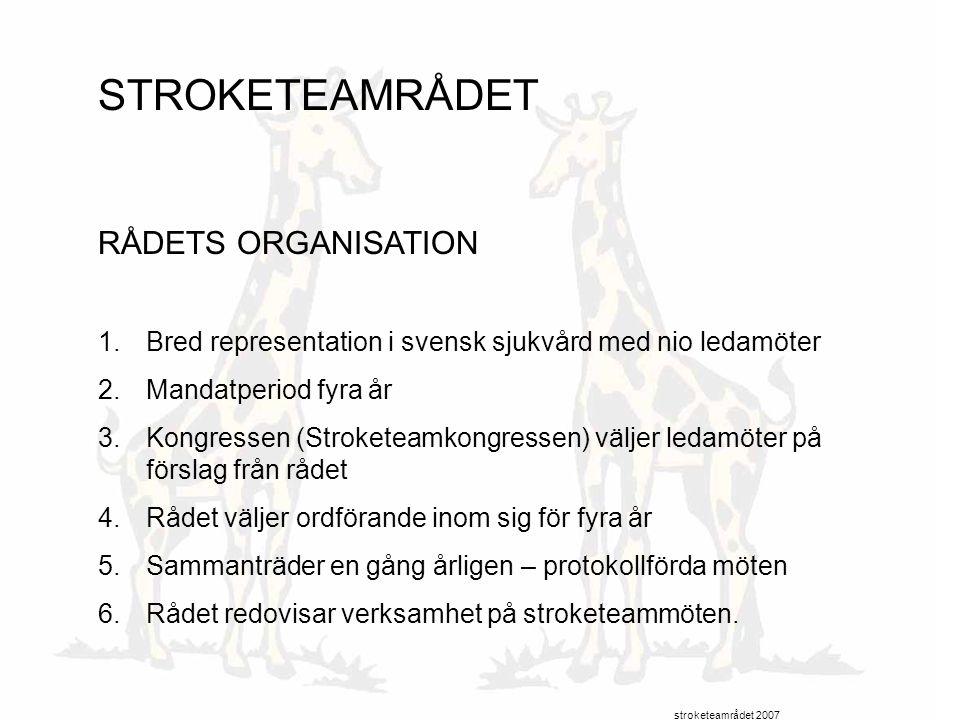 STROKETEAMRÅDET RÅDETS ORGANISATION 1.Bred representation i svensk sjukvård med nio ledamöter 2.Mandatperiod fyra år 3.Kongressen (Stroketeamkongresse