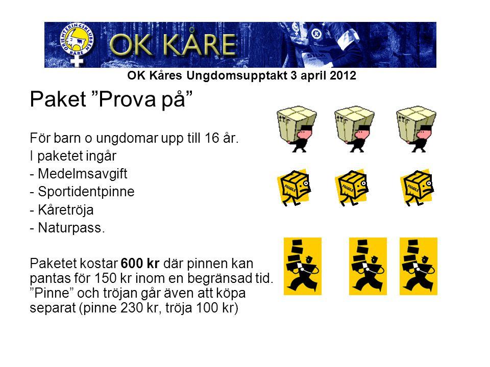 OK Kåres Ungdomsupptakt 3 april 2012 Paket Prova på För barn o ungdomar upp till 16 år.