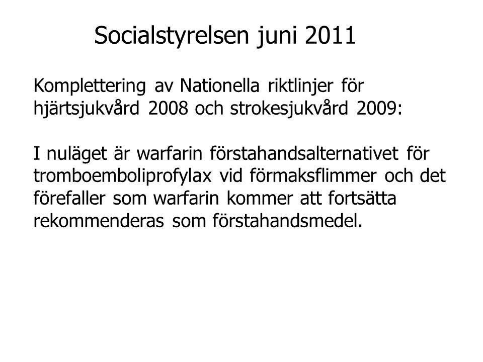Komplettering av Nationella riktlinjer för hjärtsjukvård 2008 och strokesjukvård 2009: I nuläget är warfarin förstahandsalternativet för tromboembolip