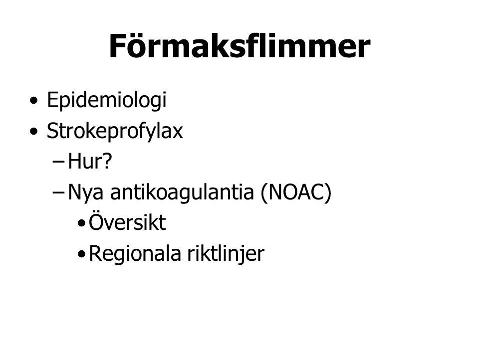Förmaksflimmer Epidemiologi Strokeprofylax –Hur? –Nya antikoagulantia (NOAC) Översikt Regionala riktlinjer