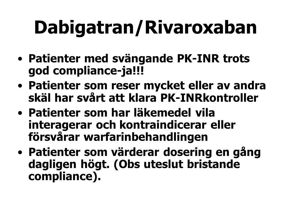 Dabigatran/Rivaroxaban Patienter med svängande PK-INR trots god compliance-ja!!! Patienter som reser mycket eller av andra skäl har svårt att klara PK