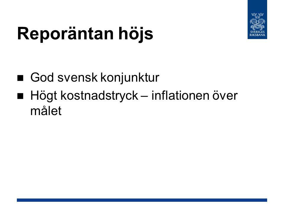 Räntebanan Reporäntan kring 4,25 procent det närmaste året Inflationen nära målet i slutet av nästa år Svensk konjunktur dämpas framöver