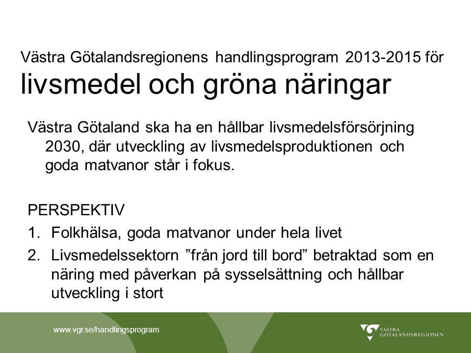 www.vgr.se/handlingsprogram Västra Götalandsregionens handlingsprogram 2013-2015 för livsmedel och gröna näringar Västra Götaland ska ha en hållbar li