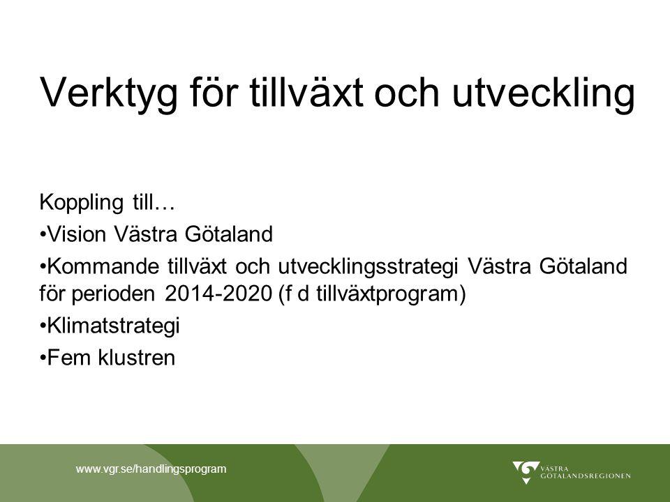 www.vgr.se/handlingsprogram Verktyg för tillväxt och utveckling Koppling till… Vision Västra Götaland Kommande tillväxt och utvecklingsstrategi Västra