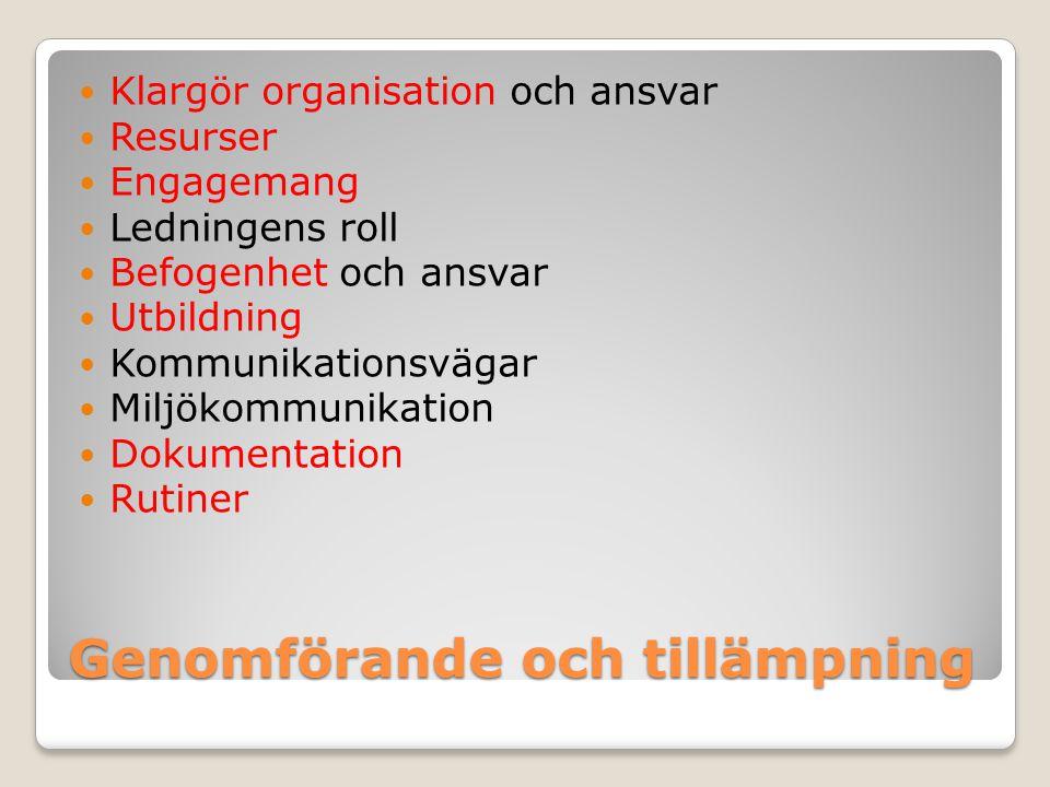 Genomförande och tillämpning Klargör organisation och ansvar Resurser Engagemang Ledningens roll Befogenhet och ansvar Utbildning Kommunikationsvägar