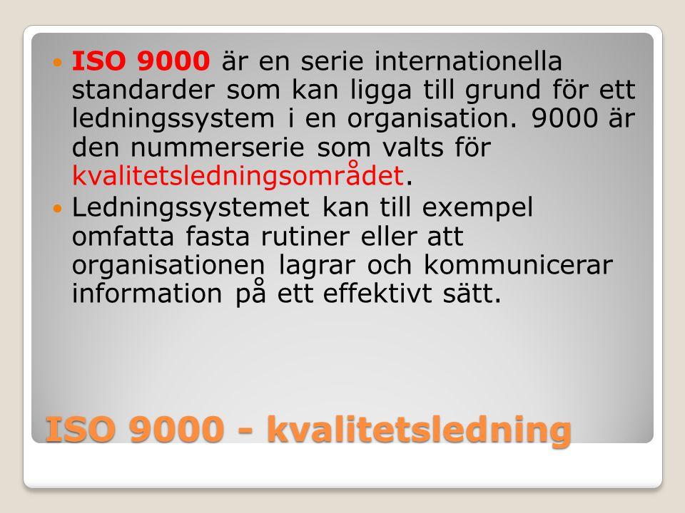 ISO 9000 - kvalitetsledning ISO 9000 är en serie internationella standarder som kan ligga till grund för ett ledningssystem i en organisation. 9000 är